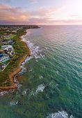Vertical Aerial Panorama Of Mornington Peninsula Coastline In Melbourne, At Sunset poster