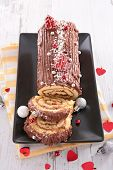 christmas cake, chocolate yule log with decoration poster