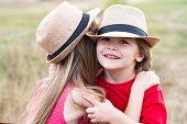 Kids Play In Autumn Park. Children Outdoor Fun In Autumn. Summer Portrait Of Happy Cute Children. Lo poster