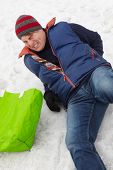 stock photo of icy road  - Man Slipped And Injured Back On Icy Street - JPG