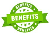 Benefits Ribbon. Benefits Round Green Sign. Benefits poster