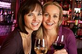 Two Women Enjoying Drink Together In Bar