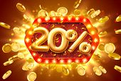 Sale 20 Off Ballon Number On The Red Background. poster