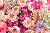 Close-up Large Beautiful Bouquet Of Mixed Flowers. Flower Background And Wallpaper. Floral Shop Conc poster