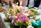 Wedding Decoration With Flowers And Candles