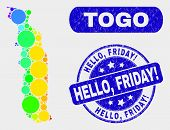 Spectrum Dot Togo Map And Seal Stamps. Blue Rounded Hello, Friday Exclamation Scratched Seal. Gradie poster