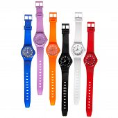 Colorful Set Of Plastic Watches Isolated On White