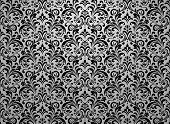 Wallpaper In The Style Of Baroque. Seamless Vector Background. Black And Grey Floral Ornament. Graph poster