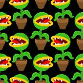 Flytrap In Pot Pattern Seamless. Flower Predator Carnivorous Plant Background . Angry Flowers With T poster
