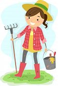 Illustration of a Girl Carrying Gardening Tools