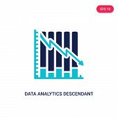 Data Analytics Descendant Graphic Icon In Two Color Design Style. Data Analytics Descendant Graphic  poster