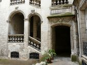 Medieval Courtyard And Stairs poster