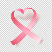 Symbol Of World Breast Cancer Awareness Month In October. Pink Ribbon Over Transparent Background. H poster
