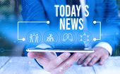 Word Writing Text Today S News. Business Concept For Latest Breaking Headlines Current Updates Trend poster