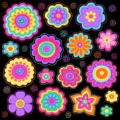 Flower Power Groovy Psychedelic Hand Drawn Notebook Doodle Design Elements Set on Lined Sketchbook Paper Background - Vector Illustration