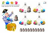Mathematical Logic Puzzle Game. Help The Pirate Calculate The Weight Of Diamond. What Weight Must He poster