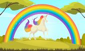 Mystical Creatures Flat Cartoon Composition Of White Unicorn With Colorful Tail And Mane Under Rainb poster
