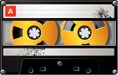 Cassette Audio realista con la etiqueta y símbolos