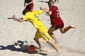 Beach Soccer Game Between Ukraine And Russia
