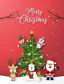 Paper Art, Craft Style Of Christmas Party With Santa Claus, And Christmas Character, Merry Christmas poster