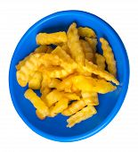 French Fries On A Blue Plate Isolated On White Background.french Fries On A Plate Top Side View .jun poster