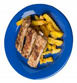 Grilled Pork Ribs With French Fries On A Blue Plate. Pork Ribs With French Fries On A White Backgrou poster