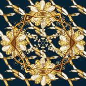 Seamless Golden Pattern. Gold Metal With Floral Pattern. Vector Golden Floral Ornament Brocade Texti poster