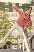 A Healthy And Happy Life. Healthy Little Child Smiling On Urban Background. Happy Small Girl Enjoy H poster