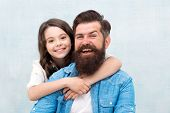 Family Always. Happy Family. Bearded Man And Small Girl Child Celebrating Family Day Together. Famil poster