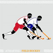 Greek art stylized field hockey players
