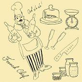 Garabatos de deliciosa comida y chef encantadora. Cocina francesa.
