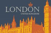 Vector Postcard Or Banner With Hand Drawn Palace Of Westminster And Big Ben In London, Uk. Retro Pos poster