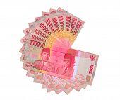 one million rupiah arranged like fan shape