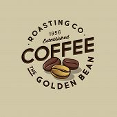 Coffee Logo. Golden Bean Coffee Emblem. Roasted And One Golden Coffee Beans With Letters In A Circle poster