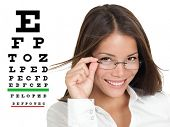 Optician or optometrist wearing glasses standing by Snellen eye exam chart. Female Caucasian / Asian