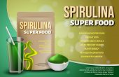 Realistic 3d Bottle Spirulina Superfood, Drink Cocktail Glass, Seaweed Powder Advertisement. Health  poster