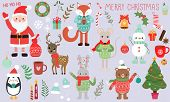 Vector Graphics. Beautiful Cartoon Christmas Set. Christmas Cute Characters And Attributes. Handwrit poster