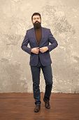 Choose Perfect Outfit. Bearded Man In Formal Suit. Business Success. Man With Beard. Male Fashion Lo poster