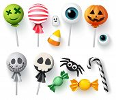 Halloween Candy Vector Set For Trick Or Treat. Sweets Halloween Candies, Candy Cane And Lollipop In  poster