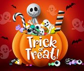 Trick Or Treat Vector Design. Trick Or Treat Halloween Pumpkin Basket With Sweets And Scary Candies  poster