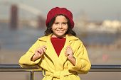 Stylish Child In Parisian Beret And Coat. Kid Fashion Look. Little Girl. Spring Weather. Autumn Tren poster
