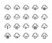 Cloud Computing Line Icons. Internet Service Platform, Network Server And Cloud Data Transfer Access poster