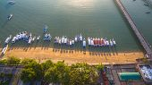 Aerial Photography At Chalong Pier. Chalong Bay Is The Most Important Marina Of Phuket There Have 2  poster