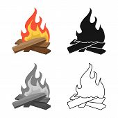 Vector Illustration Of Campfire And Warm Icon. Set Of Campfire And Firewood Vector Icon For Stock. poster