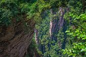 View From The Scenic Platform Over The Tian Qiao Or The Greatest Natural Bridge In Yuanjiajie Scenic poster