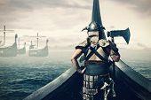 Viking Warrior On Ship Sailing On Norhtern Sea poster