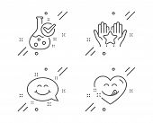 Chemistry Lab, Ranking And Smile Chat Line Icons Set. Yummy Smile Sign. Laboratory Flask, Hold Star, poster