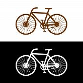 Bicycle Silhouette With Pedals, Chain And Spokes. Simple Lines Bicycle Icon. Side View. poster