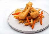 Street Food Fish And Chips, Traditional British Hot Dish Consisting Of Fried Fish, Potato poster