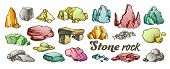 Stone Rock Gravel Collection Color Set Vector. Different Stone, Gravel And Pebble. Natural Rocky Sla poster